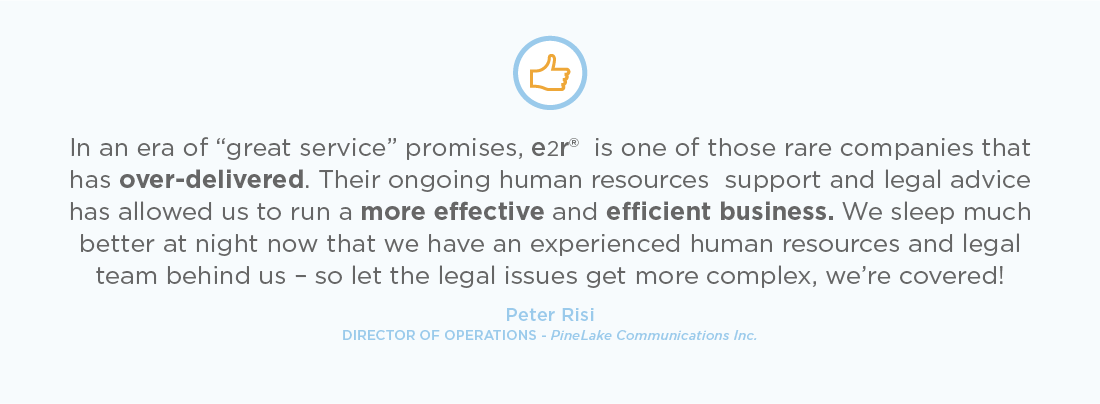"In an era of ""great service"" promises, e2r® Solutions is one of those rare companies that has over-delivered."